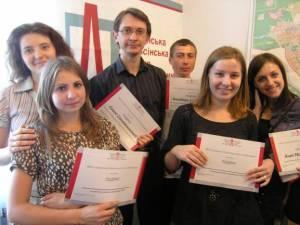Maksym Shcherbatiuk (center), program director of the Ukrainian Helsinki Human Rights Union