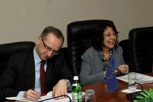 Maria Damanki, the European Commissioner for Maritime Affairs and Fisheries (on the right), and Jan Tombinski, Head of the EU Delegation to Ukraine (on the left)