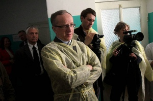 EU Ambassador Jan Tombinski at Ivankiv hospital