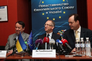 Head of the European Union Delegation to Ukraine, Ambassador Jan Tombiński (centre), together with French and Croatian Ambassadors, Alain Remy (left) and Tomislav Vidošević (right)
