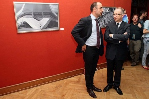 Head of the European Union Delegation to Ukraine, Ambassador Jan Tombiński (right) and EU Delegation's Head of Press and Information Section Zoltan Szalai (left) at Homo Urbanus Europeanus exhibition