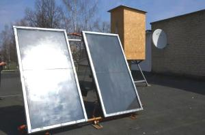 Sollar energy collector in a village school, Kolky, Volyn region