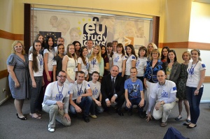 MEP Pawel Zalewski with Ukrainian students at EU Study Days