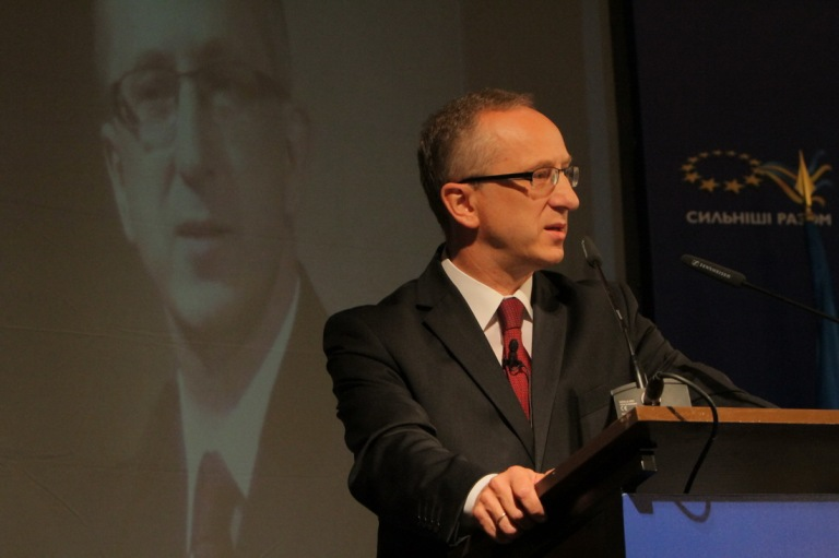 "Jan Tombiński, head of the EU Delegation to Ukraine, during the September 10 launch of the Ukraine-wide ""Stronger Together"" information campaign"