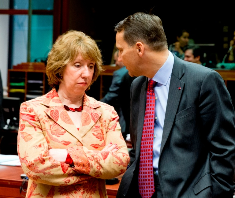 Catherine Ashton, EU High Representative, and Radoslaw Sikorski, Poland's foreign minister