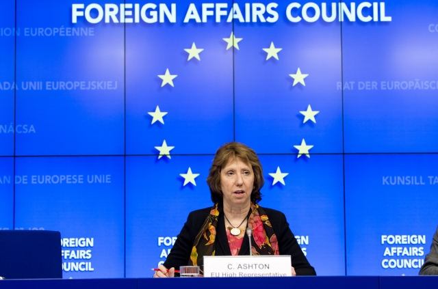 Catherine Ashton, EU High Representative, presiding on the Council sitting