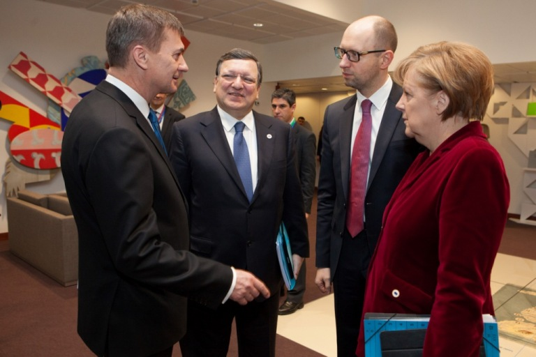 Angela Merkel, German Federal Chancellor, Arseniy Yatsenyuk, acting Ukrainian Prime Minister, José Manuel Barroso and Andrus Ansip, Estonian Prime Minister (in the foreground, from right to left)