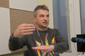 Roman Skrypin, a co-founder of and presenter on Hromadske TV